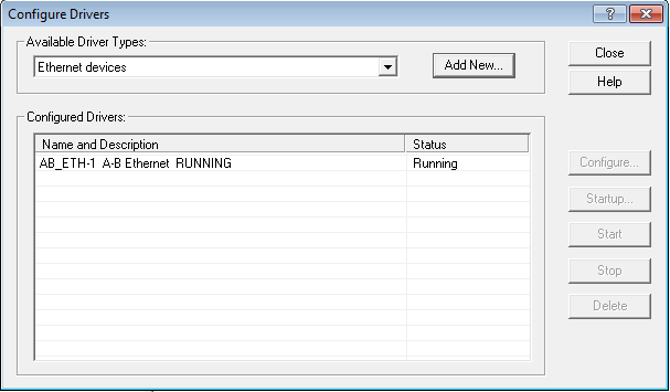 RSLinx - Configure Drivers - ethernet driver added