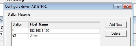 RSLinx - Ethernet Driver IP address