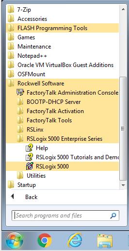 RSLogix5000 - start menu