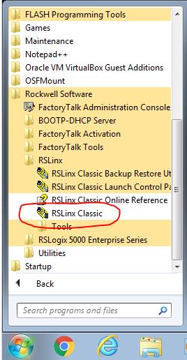 Start Menu - RSLinx Classic
