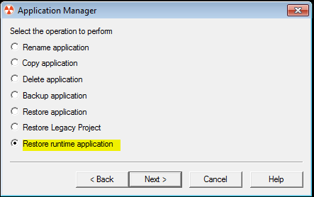 app manager restore runtime
