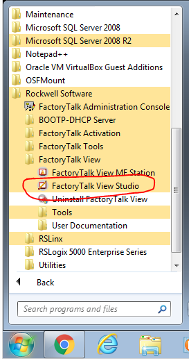 start menu factorytalkviewstudio